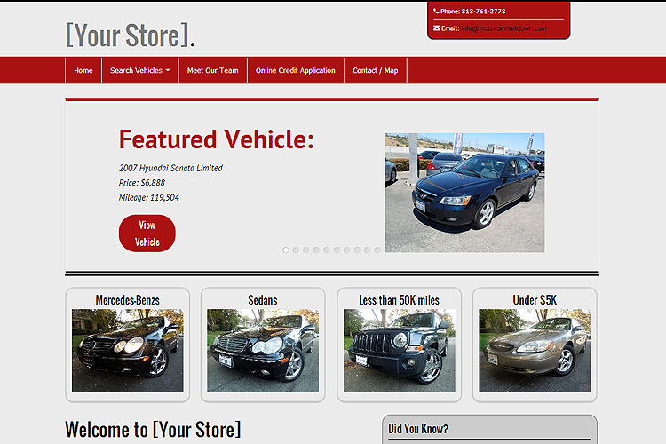 would you like to test drive our car dealer website product by setting up a fully functioning website for your dealership in only a few minutes